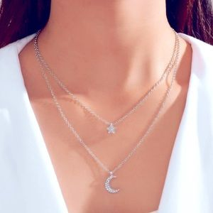 Silver Star and Moon Layered Necklace